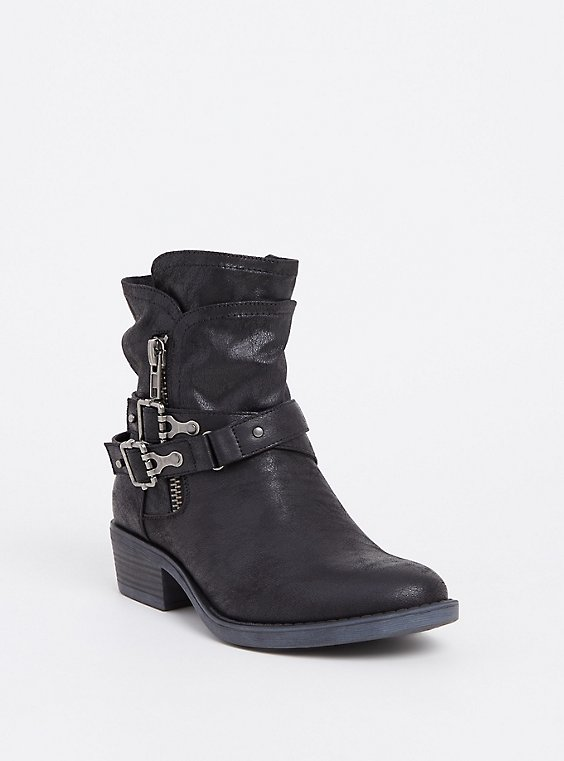 Plus Size Black Brushed Faux Leather Moto Bootie (WW), , hi-res