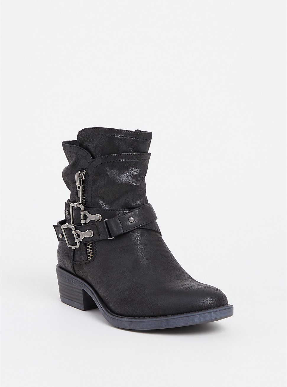 Plus Size Black Brushed Faux Leather Moto Bootie (WW), BLACK, hi-res
