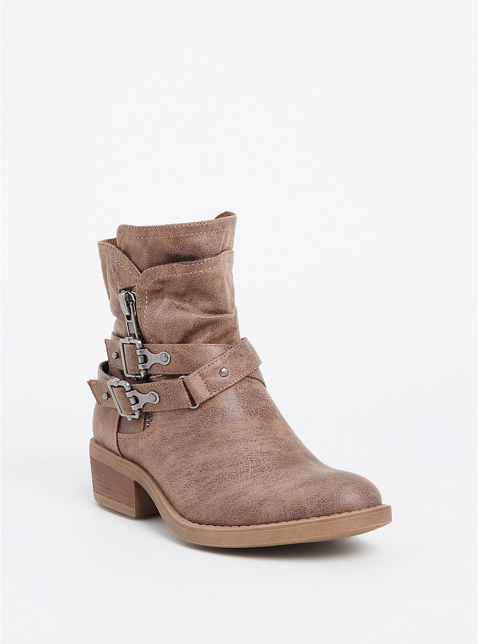 Taupe Brushed Faux Leather Moto Bootie (WW), , hi-res