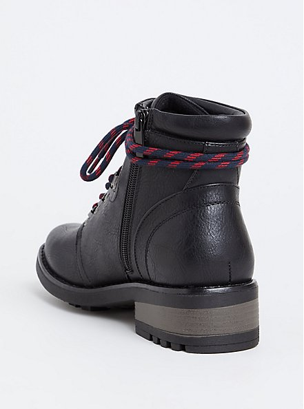 Plus Size Black Faux Leather Hiker Boot (WW), BLACK, alternate