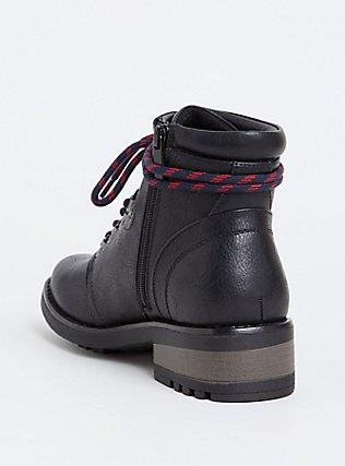 Black Faux Leather Hiker Boot (WW), BLACK, alternate