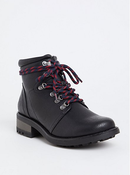 Plus Size Black Faux Leather Hiker Boot (WW), BLACK, hi-res