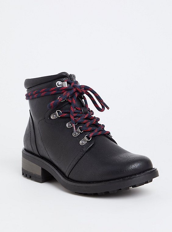 Black Faux Leather Hiker Boot (Wide Width), , hi-res