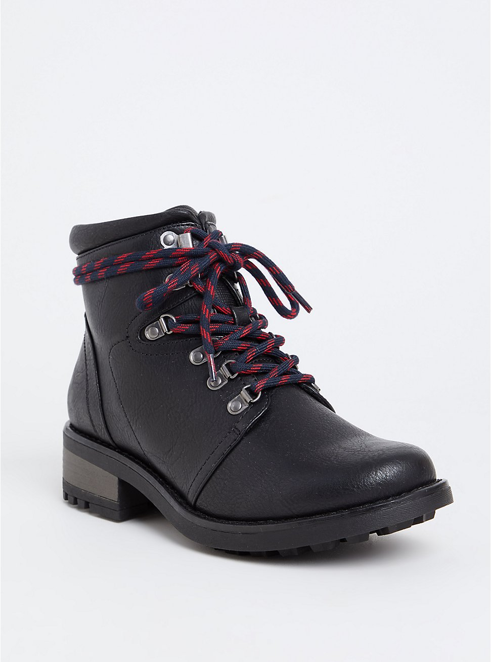 Black Faux Leather Hiker Boot (WW), BLACK, hi-res