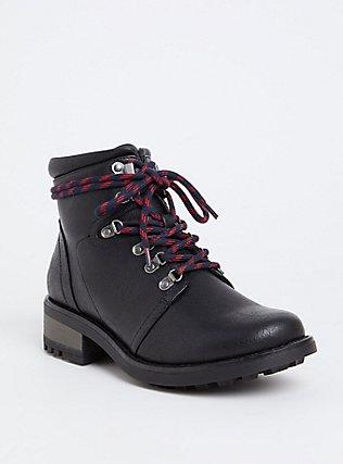 Black Faux Leather Hiker Boot (Wide Width), BLACK, hi-res