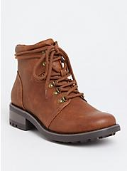 Plus Size Cognac Faux Leather Hiker Boot (WW), BROWN, alternate