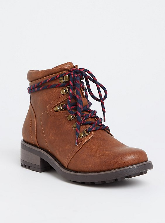 Plus Size Cognac Faux Leather Hiker Boot (WW), , hi-res