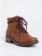 Plus Size Cognac Faux Leather Hiker Boot (WW), BROWN, hi-res