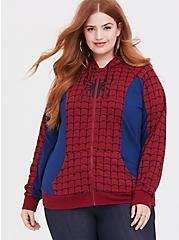 Plus Size Her Universe Marvel Spiderman Red & Blue Zip Hoodie, MULTI, hi-res