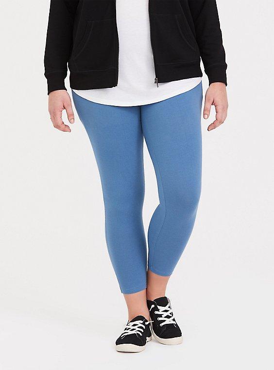 Plus Size Crop Premium Legging - Heathered Light Blue, , hi-res