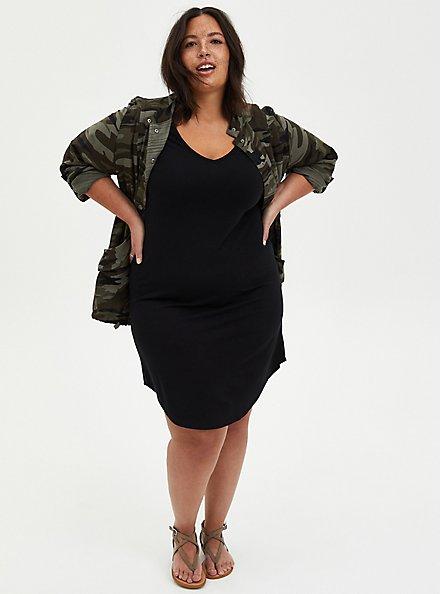Black Jersey T-Shirt Dress, DEEP BLACK, alternate