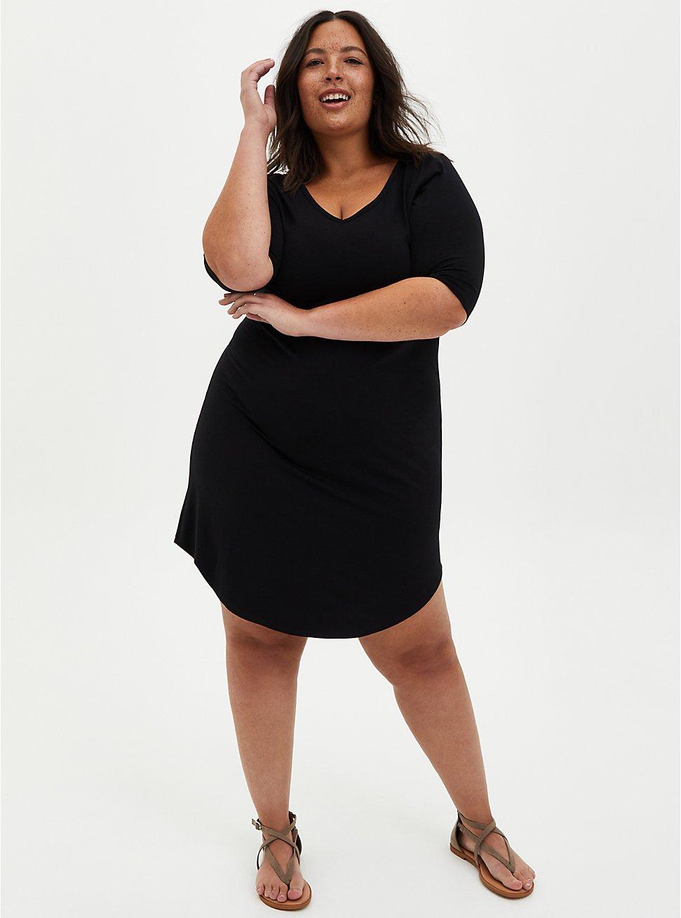 Black Jersey T-Shirt Dress, DEEP BLACK, hi-res