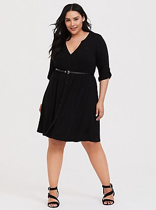 Plus Size Black Jersey Belted Shirt Dress, DEEP BLACK, hi-res
