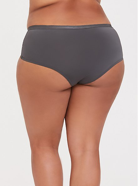 Dark Grey Microfiber & Lace Cheeky Panty, MAGNET, alternate