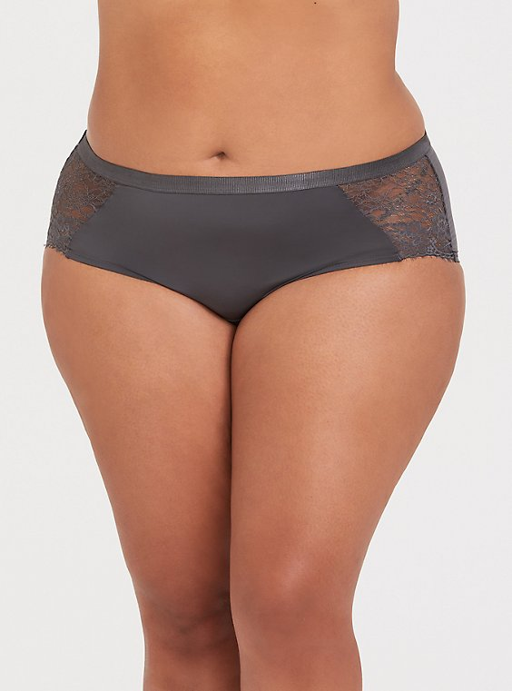 Dark Grey Microfiber & Lace Cheeky Panty, , hi-res