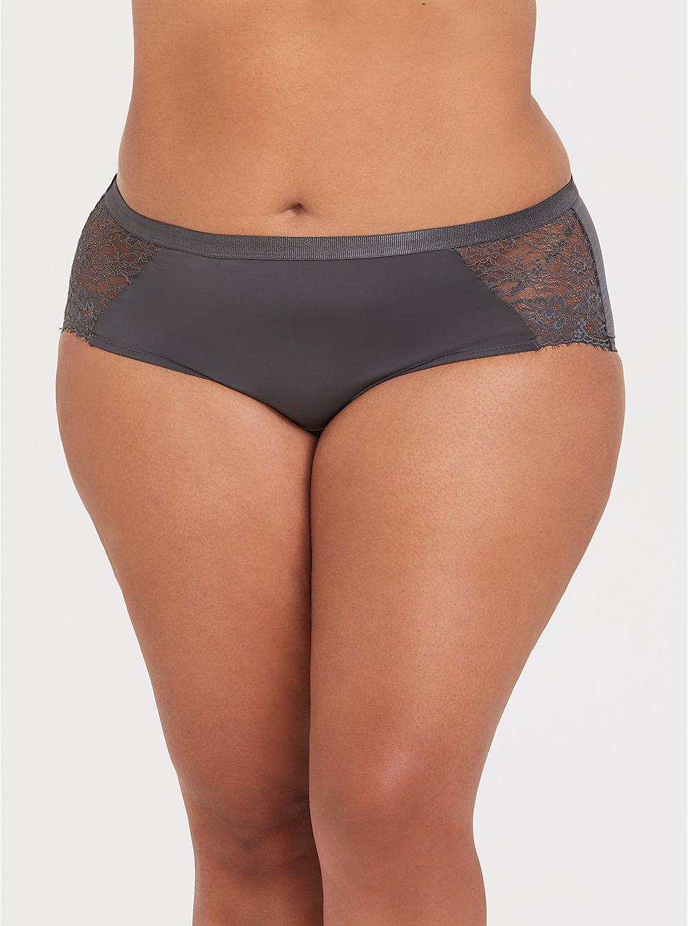 Dark Grey Microfiber & Lace Cheeky Panty, MAGNET, hi-res