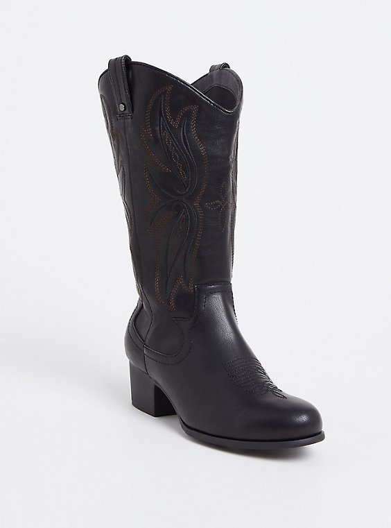 Black Faux Leather Tall Stitched Western Boot (WW), , hi-res