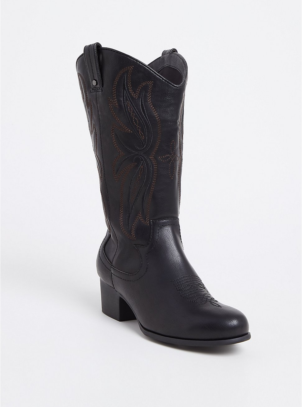 Plus Size Black Faux Leather Tall Stitched Western Boot (WW), BLACK, hi-res