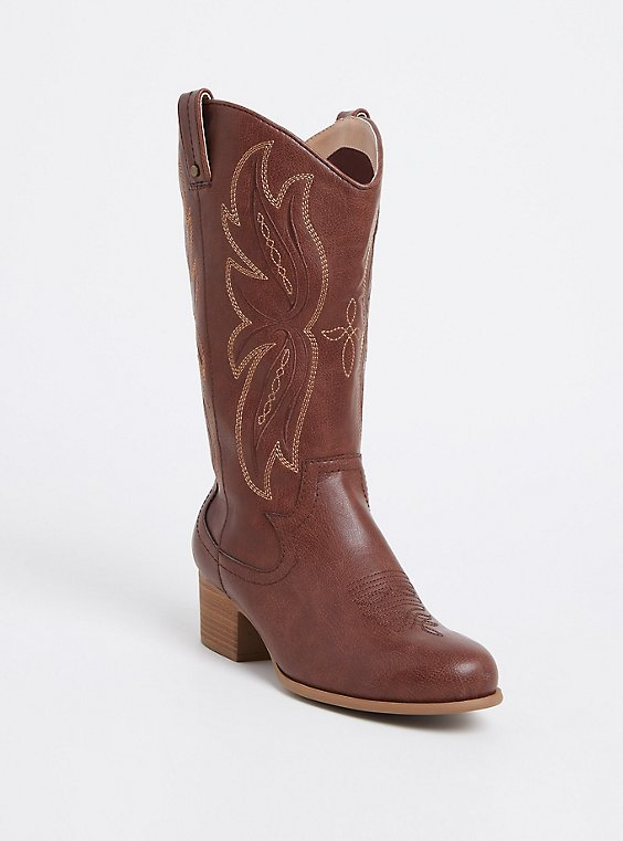 Chestnut Brown Faux Leather Tall Stitched Western Boot (WW), , hi-res