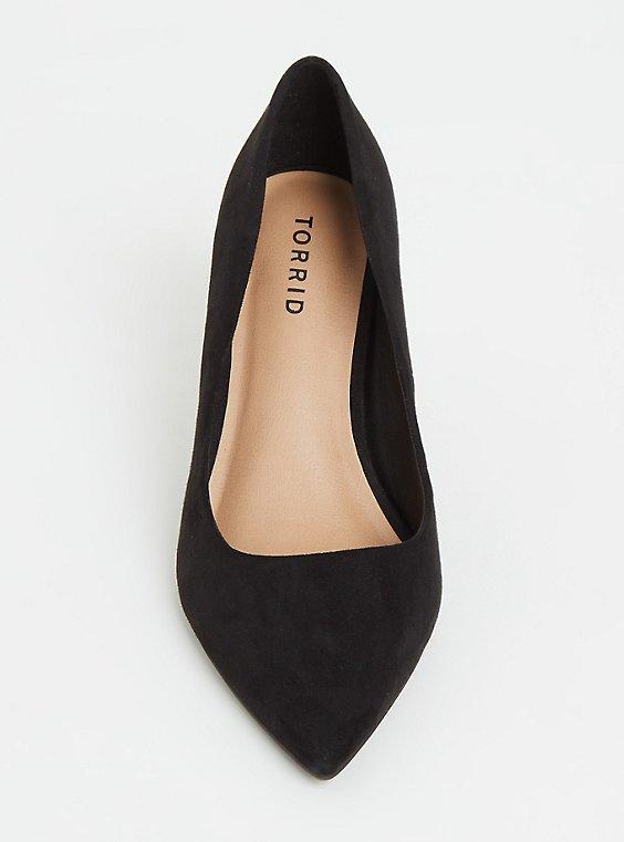 Black Faux Suede Pointed Toe Pump (Wide Width) Plus Size