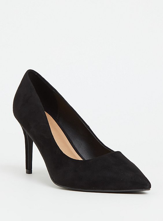 Plus Size Black Faux Suede Pointed Toe Pump (WW), , hi-res