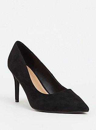 Black Faux Suede Pointed Toe Pump (Wide Width), BLACK, hi-res