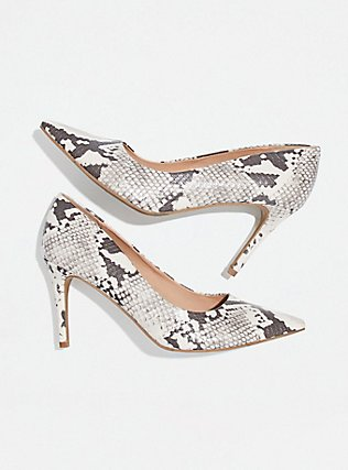 Grey Snakeskin Print Faux Leather Pointed Toe Pump (WW), ANIMAL, alternate