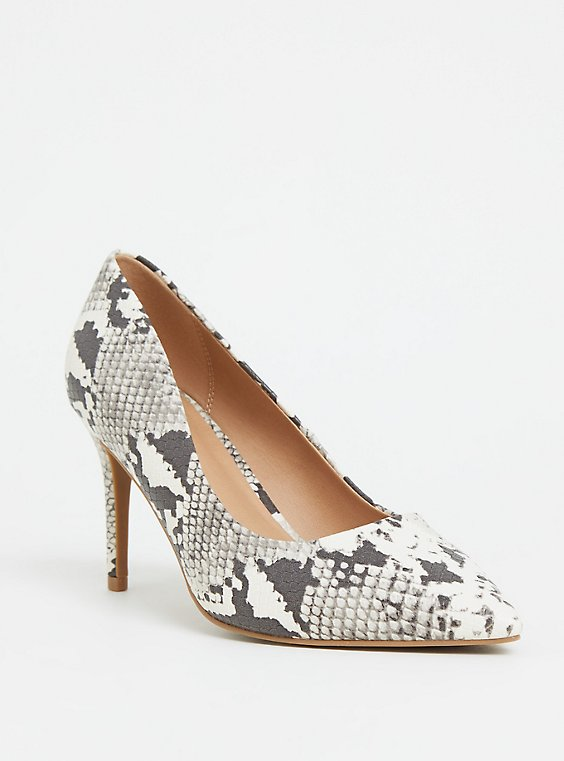 Grey Snakeskin Print Faux Leather Pointed Toe Pump (WW), , hi-res