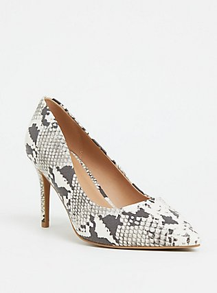 Grey Snakeskin Print Faux Leather Pointed Toe Pump (Wide Width), ANIMAL, hi-res
