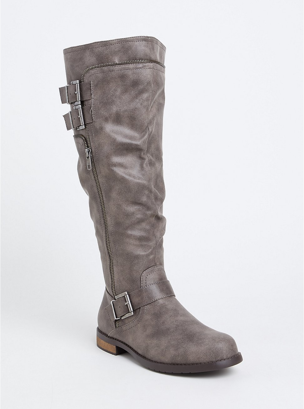 Plus Size Grey Faux Leather Knee-High Boot (WW), GREY, hi-res