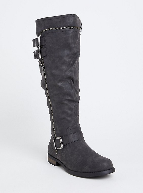 Black Faux Leather Knee-High Boot (WW), , hi-res