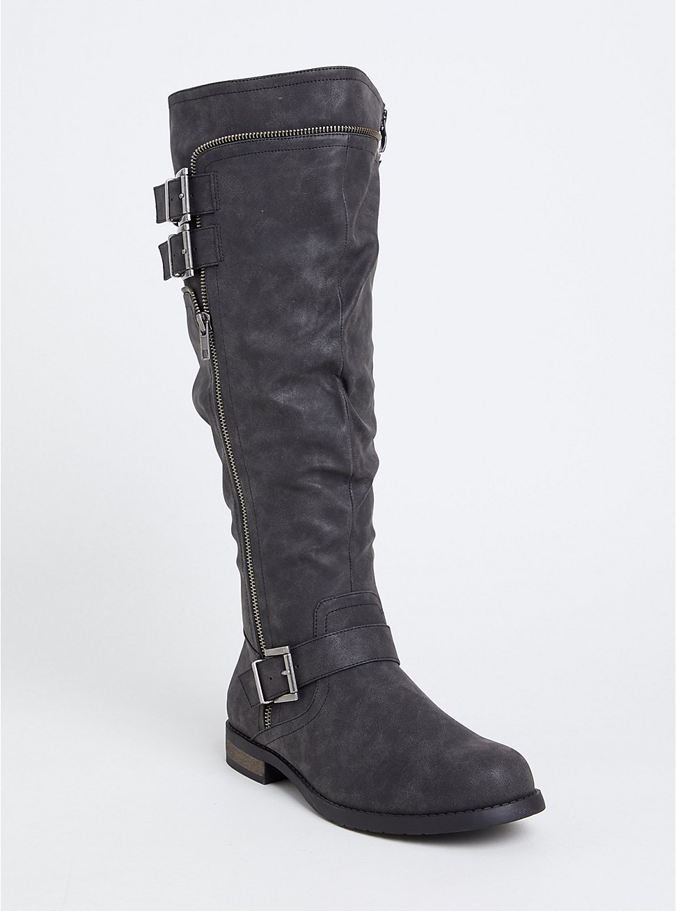 Black Faux Leather Knee-High Boot (WW), BLACK, hi-res