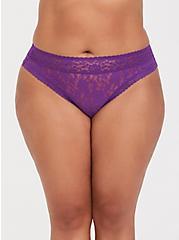 Purple Lacey Thong Panty, , hi-res