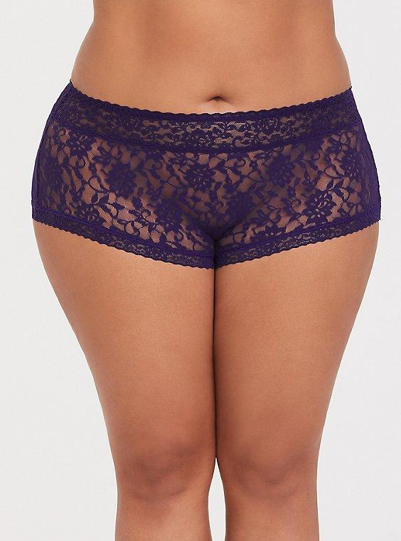 Plus Size Dark Purple Lacey Brief Panty, , hi-res