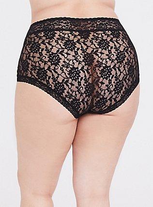 Black Lacey Brief Panty, RICH BLACK, alternate