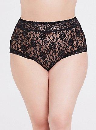 Plus Size Black Lacey Brief Panty, RICH BLACK, hi-res