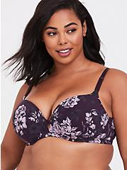 Grape Purple Floral 360° Back Smoothing™ Lightly Lined Cotton T-Shirt Bra, GRAPE SEED, hi-res