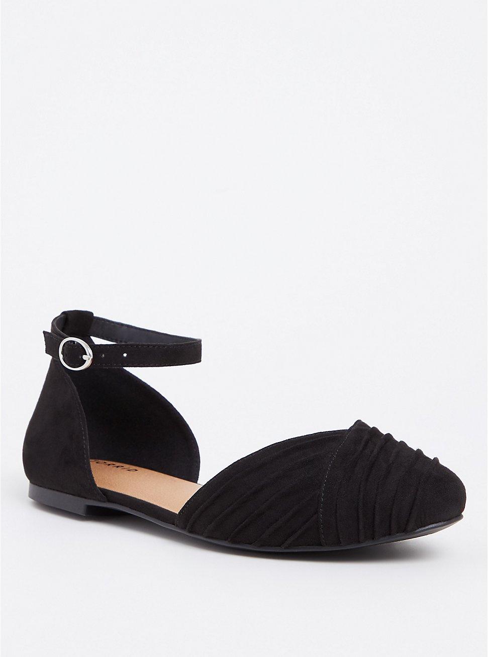 Black Faux Suede Ankle Strap D'Orsay (WW), BLACK, hi-res