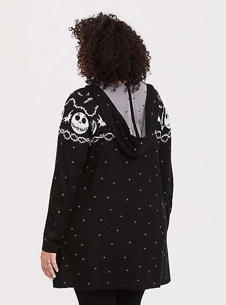 Plus Size Disney Nightmare Before Christmas Black Fair Isle Black Hooded Cardigan, DEEP BLACK, alternate