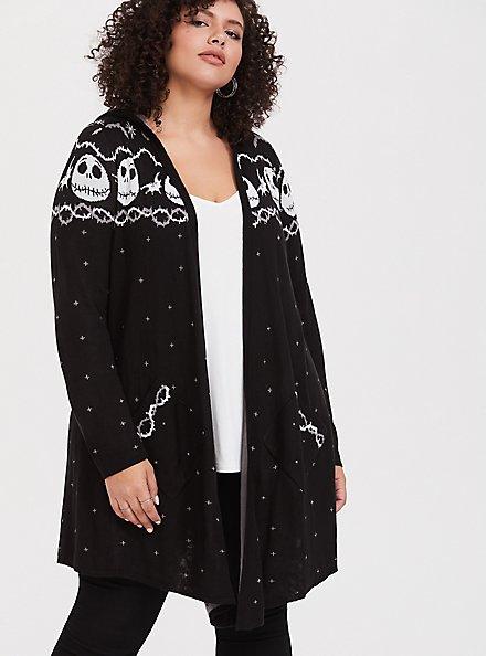 Plus Size Disney Nightmare Before Christmas Black Fair Isle Black Hooded Cardigan, DEEP BLACK, hi-res