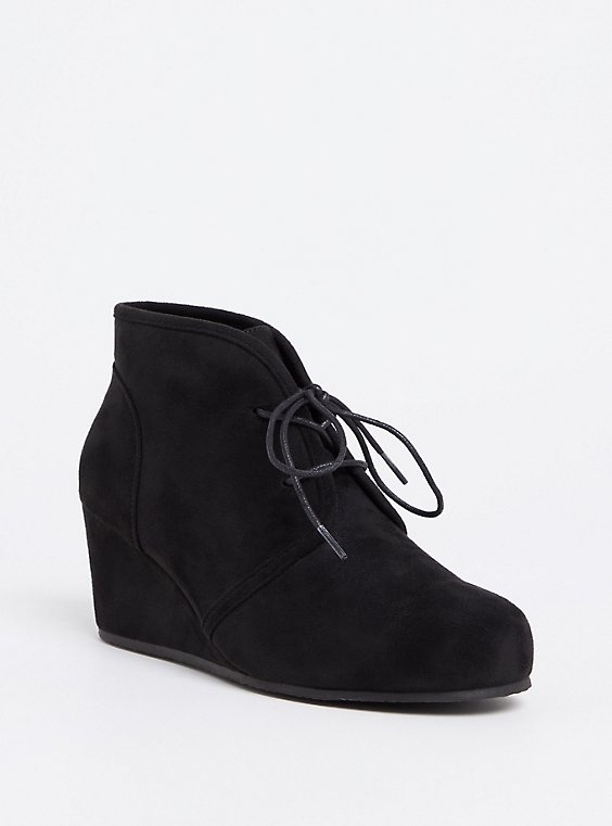 Black Faux Suede Wedge Bootie (WW), , hi-res