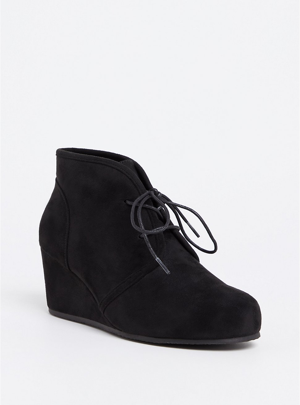 Black Faux Suede Wedge Bootie (WW), BLACK, hi-res