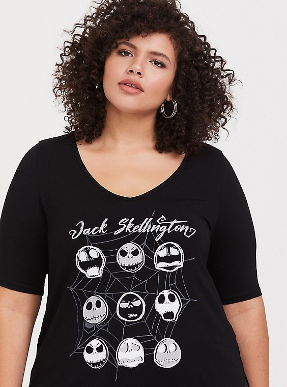 Disney Nightmare Before Christmas Jack Skellington Faces Black Top, , hi-res