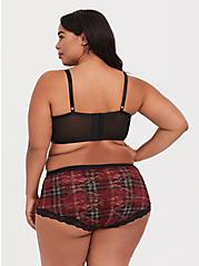 Dark Red Plaid Mesh & Lace Underwire Bralette, , alternate