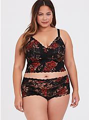Black & Red Floral Lace Bralette, , alternate