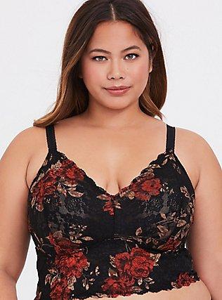 Black & Red Floral Lace Bralette, , hi-res