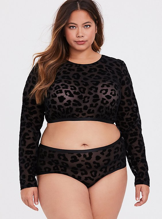 Black Mesh Flocked Leopard Long Sleeve Under-It-All Crop Top, , hi-res
