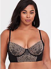 Plus Size Black & Taupe Lace Harness Lightly Lined Longline Underwire Bralette, , alternate