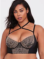 Plus Size Black & Taupe Lace Harness Lightly Lined Longline Underwire Bralette, , hi-res