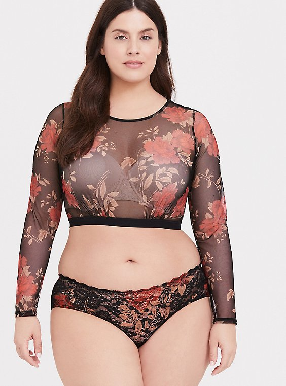 Black & Red Floral Mesh Long Sleeve Under-It-All Crop Top, , hi-res